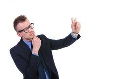 L'uomo di affari scrive con gesso Fotografia Stock Libera da Diritti