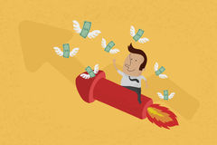 L'uomo di affari sul grafico crescente raccoglie i soldi Fotografie Stock