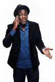 L'uomo di colore con il telefono Immagine Stock Libera da Diritti