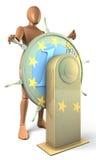 L'uomo, di tornitura di capitano volante dentro la forma di euro moneta Immagine Stock Libera da Diritti