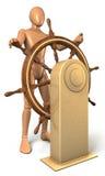 L'uomo, di tornitura di capitano volante dentro la forma di euro moneta Immagini Stock Libere da Diritti