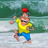 L'uomo divertente del fumetto funziona a partire da una grande onda fotografia stock