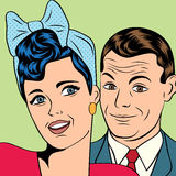 L'uomo e la donna amano le coppie nello stile comico di Pop art Fotografia Stock