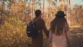 L'uomo e la donna di amore stanno riposando in foresta nella festa di autunno, camminante sul percorso video d archivio