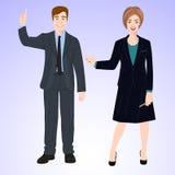 L'uomo e la donna sorridenti nello stile dell'ufficio durano Fotografia Stock Libera da Diritti
