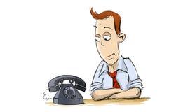 L'uomo ed il vecchio telefono Illustrazione di Stock