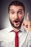 L'uomo emozionante ha un'idea Fotografia Stock