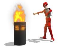 L'uomo estingue un fuoco Fotografia Stock Libera da Diritti