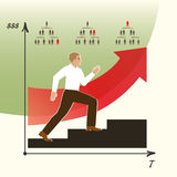L'uomo fa la carriera L'uomo va su una scala di carriera ENV, JPG Fotografia Stock Libera da Diritti