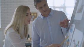 L'uomo fa la presentazione di lavagna al suo personale di ufficio creativo 4 K archivi video
