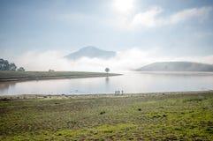 L'uomo fa una pausa l'albero solo sul lago, l'alba al mountai, nebbioso, nuvola del anh del lago sul cielo Immagini Stock Libere da Diritti
