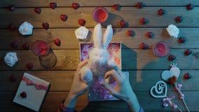 L'uomo felice ottiene il coniglietto molle come presente di giorno di S. Valentino, vista superiore stock footage