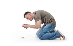 L'uomo fresco fotografa il fiore dello Smart Phone su bianco Fotografia Stock Libera da Diritti