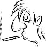 L'uomo fuma una sigaretta Fotografia Stock