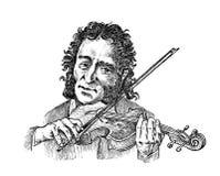 L'uomo gioca il violino Musicista con uno strumento classico Prestazione con un'orchestra sinfonica Musica d'annata di stile illustrazione vettoriale