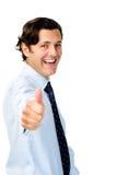 L'uomo gioioso in abbigliamento di affari mostra i pollici in su immagini stock