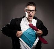 L'uomo gradisce un supereroe Fotografia Stock Libera da Diritti
