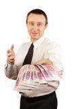 L'uomo ha dato un gruppo di soldi Immagini Stock Libere da Diritti