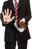 L'uomo ha eliminato i soldi dalla sua borsa Immagini Stock Libere da Diritti