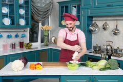 L'uomo ha fatto le verdure e salarle Tipo barbuto sulla cottura della cucina fotografie stock libere da diritti