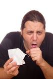 L'uomo ha il raffreddore e tosse Fotografia Stock