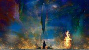 L'uomo incontra il UFO illustrazione di stock