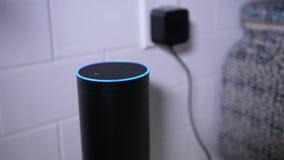 L'uomo inserisce Amazon Alexa Unit in cucina video d archivio