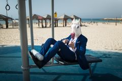 L'uomo insolito in vestito ed il cavallo mascherano fare lo sport all'area vicino alla spiaggia immagine stock libera da diritti
