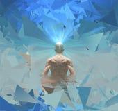 L'uomo irradia la luce dalla mente illustrazione di stock