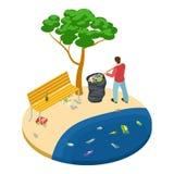 L'uomo isometrico prende i rifiuti sul concetto di vettore di inquinamento della spiaggia, dell'acqua, dell'oceano e della natura royalty illustrazione gratis