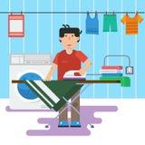 L'uomo in lavanderia sta lavando e rivestendo di ferro royalty illustrazione gratis