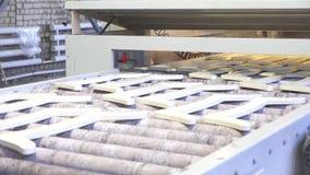 L'uomo lavora alla linea di pittura automatica di prodotti di legno video d archivio