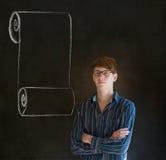 Uomo, studente o insegnante con la lista di controllo del rotolo del menu con i vetri Fotografie Stock