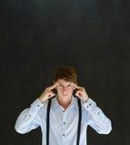 L'uomo pensa o pensando duro Fotografie Stock