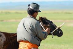 L'uomo mongolo mette il freno di legno sul puledro per smettere di mungere dalla madre dell'animale in Harhorin, Mongolia fotografie stock
