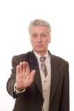 L'uomo mostra il suo freno di mano Fotografie Stock