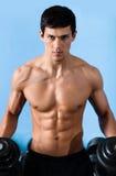 L'uomo muscolare bello usa il dumbbell Immagine Stock
