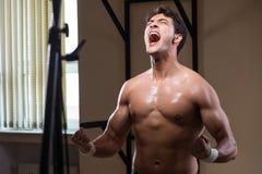 L'uomo muscolare strappato in palestra che fa gli sport Immagini Stock