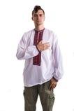 L'uomo nei vestiti nazionali ucraini isolati su bianco Fotografia Stock Libera da Diritti