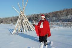 L'uomo nel vestito del Babbo Natale Fotografie Stock