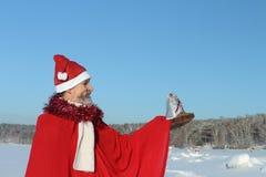 L'uomo nel vestito del Babbo Natale Fotografie Stock Libere da Diritti
