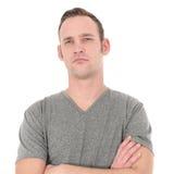 Uomo pensieroso con un'espressione seria Fotografie Stock Libere da Diritti