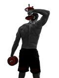 L'uomo pesa gli esercizi di allenamento dei costruttori di corpo Fotografia Stock