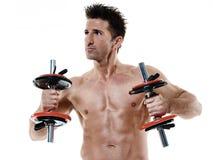 L'uomo pesa gli esercizi isolato Fotografie Stock Libere da Diritti