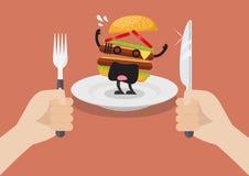 L'uomo prepara mangiare l'hamburger spaventato Fotografia Stock Libera da Diritti