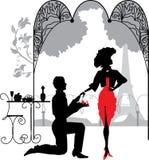 L'uomo propone una donna per sposare la proposta di matrimonio royalty illustrazione gratis