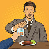 L'uomo rifiuta il vettore di stile di Pop art della bevanda illustrazione vettoriale