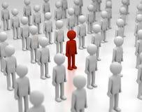 L'uomo rosso si leva in piedi fuori dalla folla Fotografie Stock Libere da Diritti