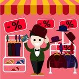 L'uomo sceglie i vestiti perfetti e un cappello nel deposito illustrazione vettoriale