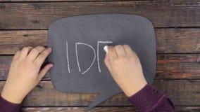 L'uomo scrive la parola IDEA con gesso su una lavagna, stilizzata come pensiero stock footage